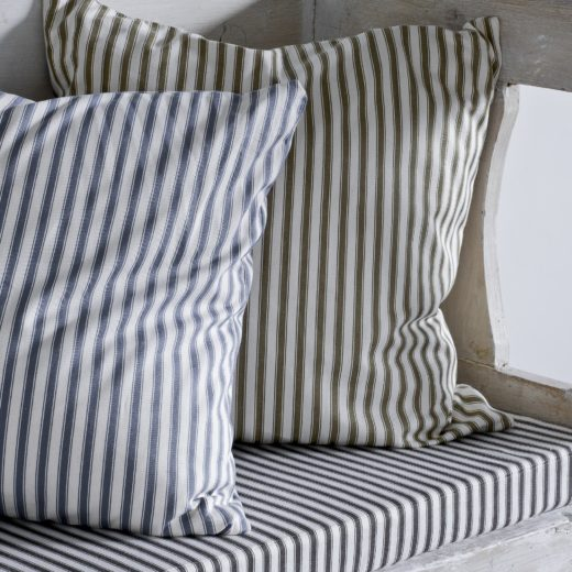 Annie Sloand ticking in grey used on widnow seat and cushions with coloirs taken from chalk paint line