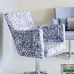 Annie Sloan Tactic fabric in graphite shade on modern swivel chair