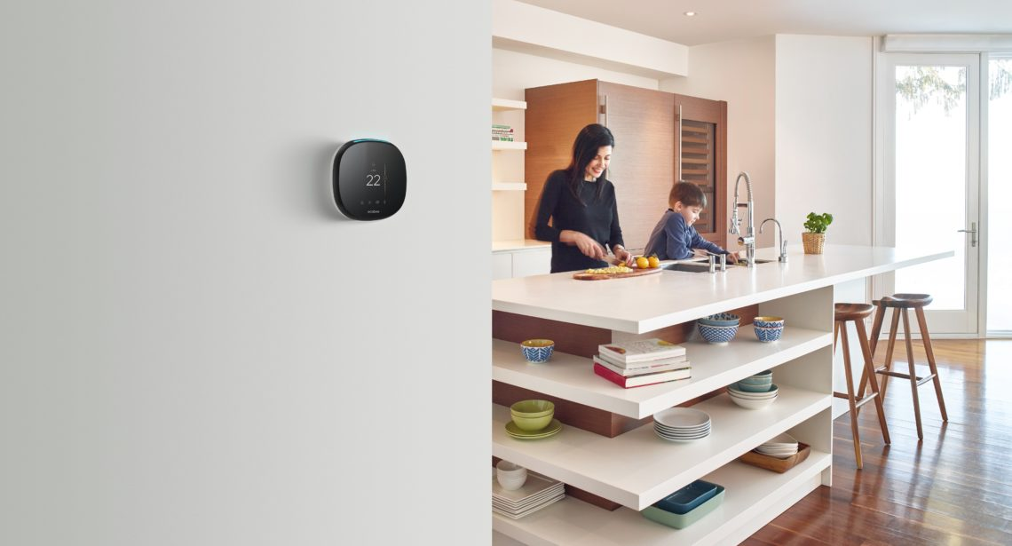 Ecobee smart thermostate in an urban home