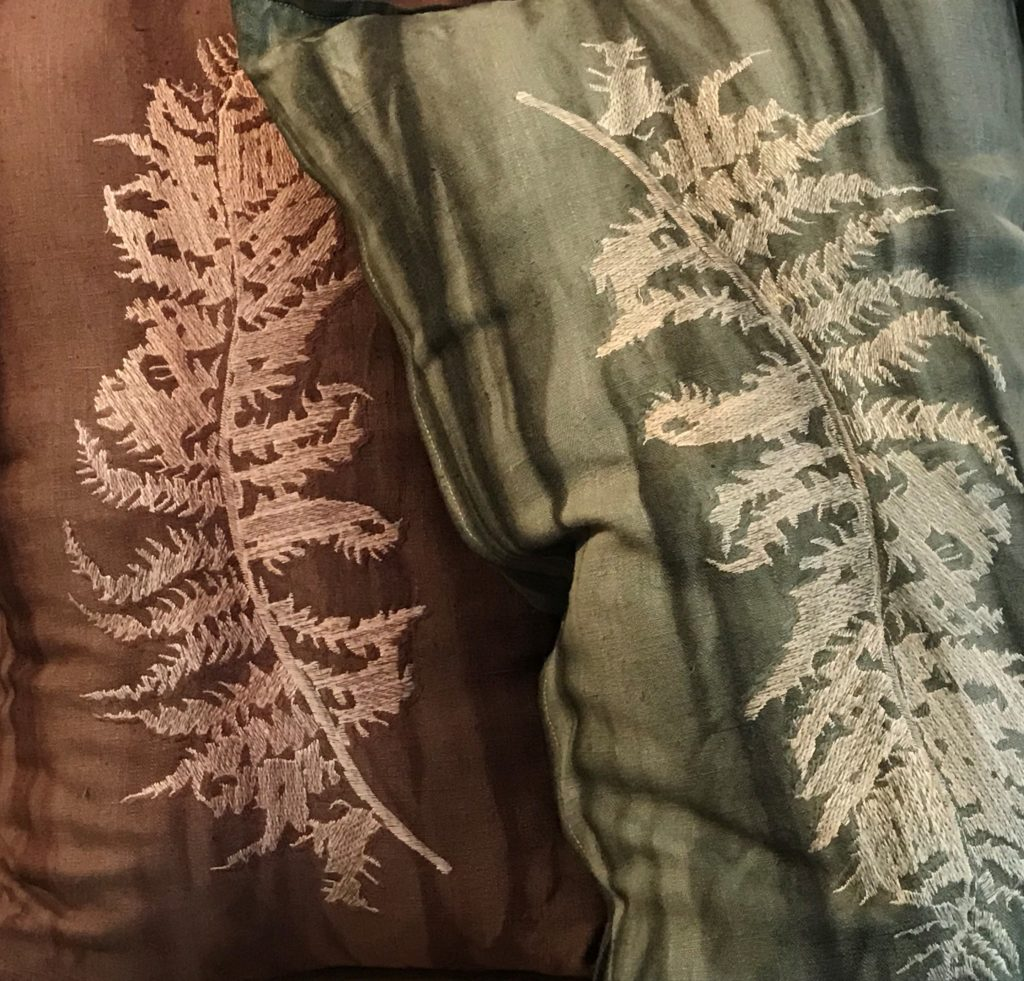 fern patterned botanical pillows in linen from south africa in pink and green