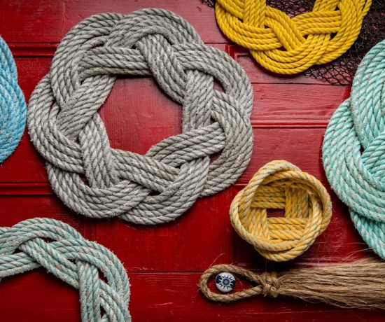 Rustic and nautical rope art from All for Know Gallery in Bay of Fundy Nova Scotia with bowls, wreaths