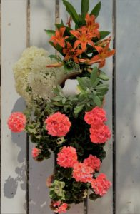 potted plants and cut flowers from the summer garden make a pretty centrepiece for an outdoor or indoor dinner party