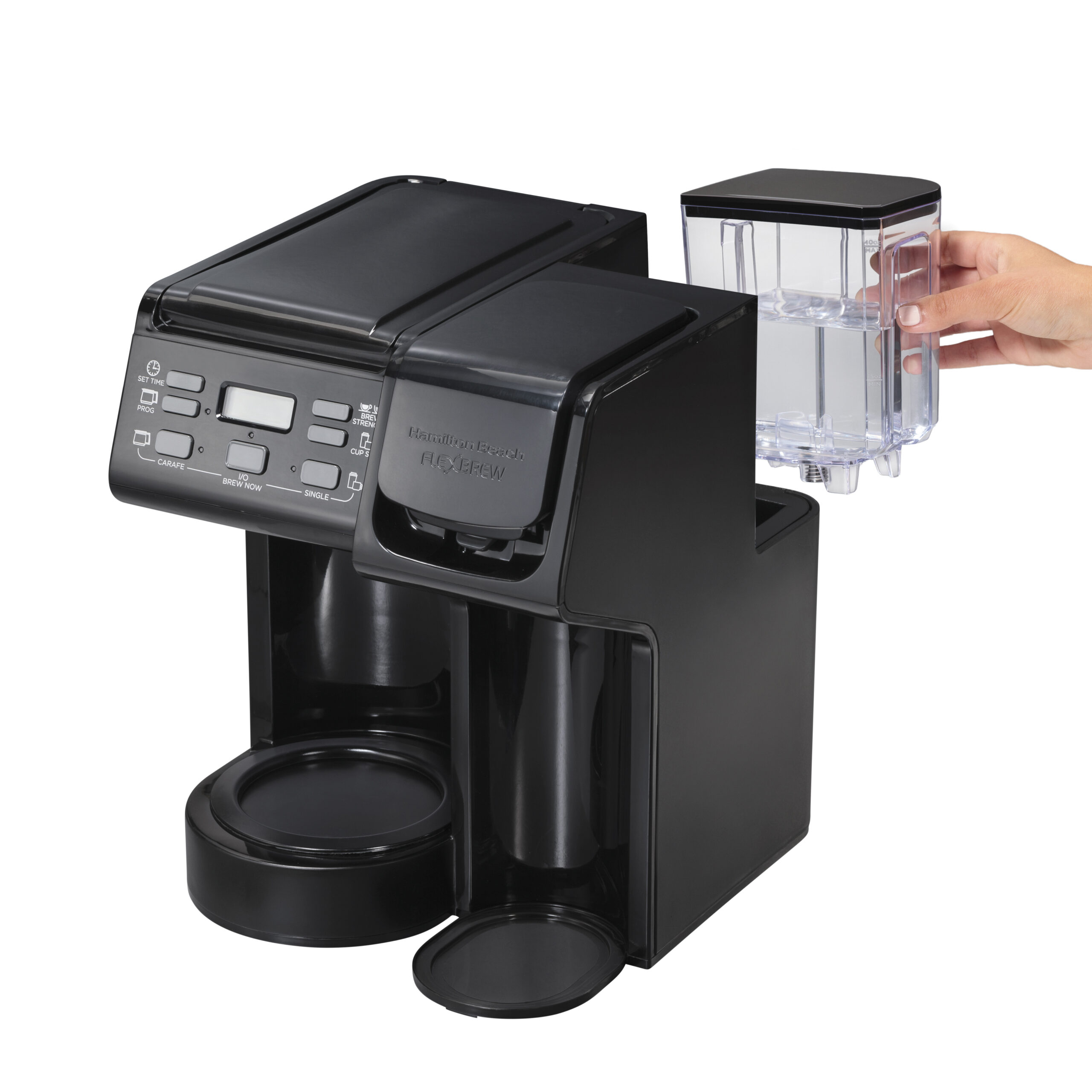 Hamilton Beach FlexBrew coffee maker takes branded coffee and tea pods or a reusable filter for an eco-friendly hot beverage.